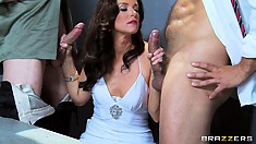 Confidentially speaking, this brunette MILF takes on two horny detectives