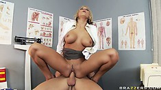Riding that big cock gives the cute blonde intense and overwhelming pleasures