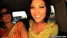 Claire Dames, Tory Lane and Alexa Jordan teasing some guys on a carshop