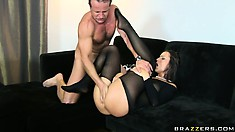 Horny Simone Peach, after having her ass drilled with cock, gets it licked