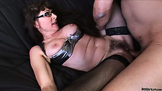 Horny mature bitch with a hairy pussy gets banged by a hard cock