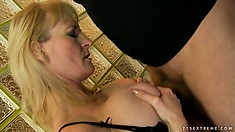 Mature lady uses her lips and tits to prepare that rod to satisfy her appetites