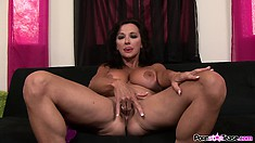Busty brunette cougar Ciara Blue takes a break to finger her own snatch