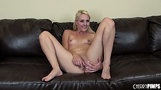 Ashley starts stripping and posing, showing her pink hole and toying