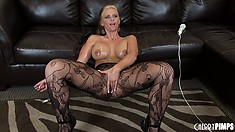 Slutty blonde Phoenix Marie finds the oil and lets it ooze all over her big boobs