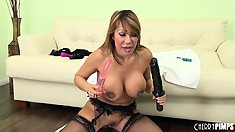 Ava Devine filling her ass mouth and pussy with her big fake cocks