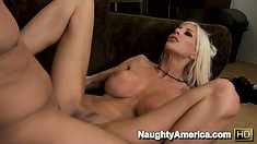 Puma Swede is made to take carrot sized cock in her turnip hole