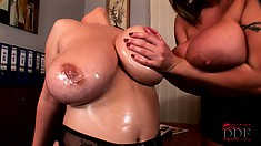 Gently caressing each other's boobs and pussies, the cougars find pure delight