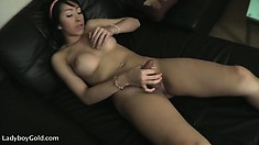 Smooth shemale with a curvy body makes herself cum everywhere