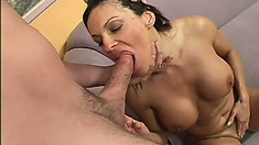 Brunette mom with huge melons makes a tasty meal of his man meat
