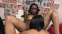 Innocent-looking young ebony dyke goes down south on her more experienced GF