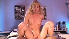 MILF Angella Faith is getting her cunt rammed from behind, then rides it hard