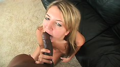Beautiful blonde with perky tits Kaycee Dean fingers her twat and sucks a black dick