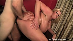 Buxom blonde Zoey Andrews spreads her legs to take every inch of a long dick in her cunt