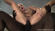 Dazzling blonde with lovely tits Whitney Grace is addicted to Nathan's black dick