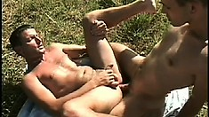 Lusty gay guy gets his firm porcelain ass drilled in an outdoor threesome