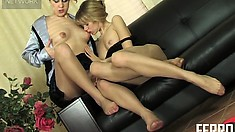Two foot hungry lesbians get down and dirty on a leather couch