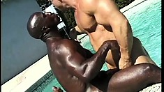 Two hard black guys get down with their tanned white fuck-buddy