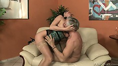 Angel gives an older guy her pussy to drill after she licks his ass