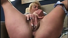 Momma Maggie stretched coed's pussy and gets ass destroyed in return