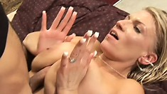 Stud makes oldie's big tits sway and bounce when he takes her from behind