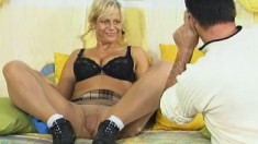 Horny blonde's giant melons bounce around as she gets dicked