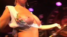Wild girls on spring break tease the crowd with their pretty slits