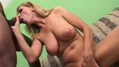 Nicole Moore is a hard bodied blond who takes all of his big black cock