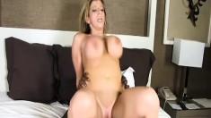 Curvy blonde cougar takes Byron Long's huge black cock deep in her twat