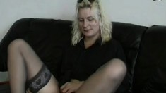 Mature blonde Hillary is shaving her coochie and then has sex