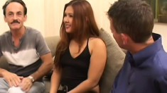 Hot charismatic lassie with small tits has fun with two gentlemen