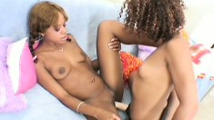 Two black college roommates with sexy slender bodies make each other cum hard