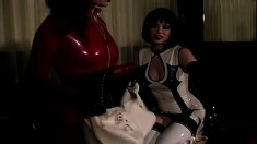 A submissive latex girl willingly receives any kind of punishment
