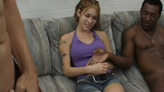 Allie Sin gets picked up in a public place and fucked hard by two guys