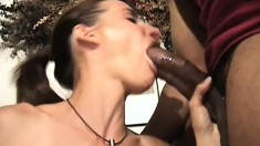 Adorable brunette joins three horny black guys for a hardcore adventure