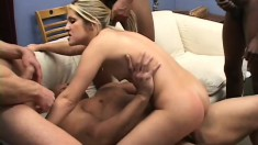 Cute blonde has four guys sharing her holes and unloading on her face