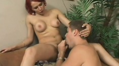 Tempting broad screws her horny lover's joystick and a tranny