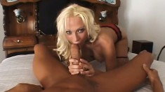 Busty blonde cougar plays with her clit while a stiff cock drills her tight ass
