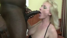 Hot blonde cougar gets her gaping holes stuffed with dark meat