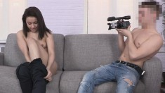 Shy bitch turns wild when she gets her clothes off to suck and fuck while he films