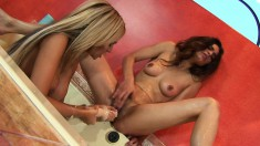Insatiable blonde is eager to go down on her friend's wet snatch