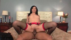 Naughty wife Velvet Licx plays with sex toys and fucks a big black rod