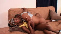 Horny ebony chick Simone has a juicy peach longing for a black stick