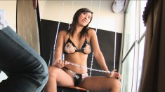 Naughty Holly gets bored and horny so she has fun in front of the camera