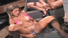 Amber Wild toys her lover in both holes and then they toy themselves