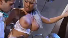Busty blonde Claudia F gets a different checkup with cock in mouth and cunt