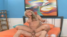 Stacked blonde beauty Cayden Moore sits on top of a throbbing prick
