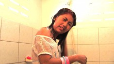 April is home alone showering and grabs her dildo to get off