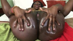 Voluptuous black beauty has a horny white guy hammering her pink pussy