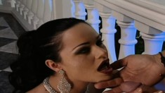 Dark-haired Bimbo Gets Down On All Fours To Suck On A Thick Dong